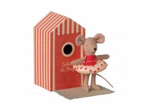 Myšák na pláži malý bráška červený Maileg
