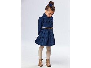 Šaty s dlouhým rukávem a páskem riflové tmavě modré MINI Mayoral