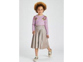 Kalhotová sukně plisovaná sametová šedá MINI Mayoral