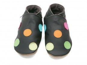 Kožené capáčky barvené puntíky hnědé STARCHILDSHOES