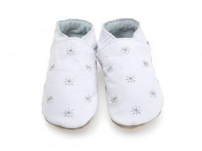 Kožené capáčky bílé se stříbrnými hvězdičkami STARCHILDSHOES