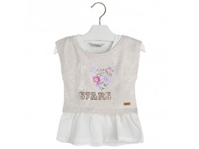 Tričko s krátkým rukávem a volánkem I LOVE lila MINI Mayoral
