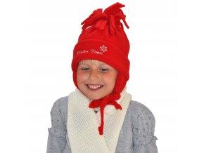 Čepice kulich střapec + uši fleece - červená