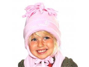 Čepice kulich střapec + uši fleece - růžová