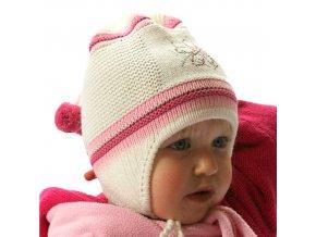 Čepice pletená korálky - smetanovo-růžová
