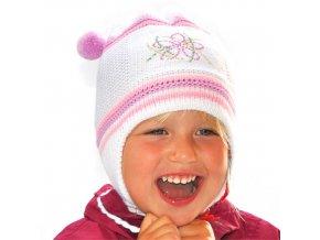 Čepice pletená korálky - bílo-růžová