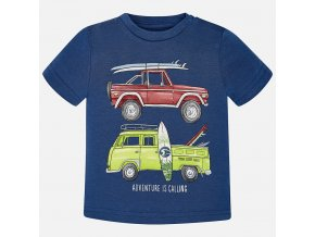 Tričko s krátkým rukávem auta tmavě modré BABY Mayoral