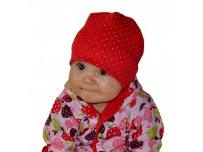 Čepice rambovka puntík lycra-červená