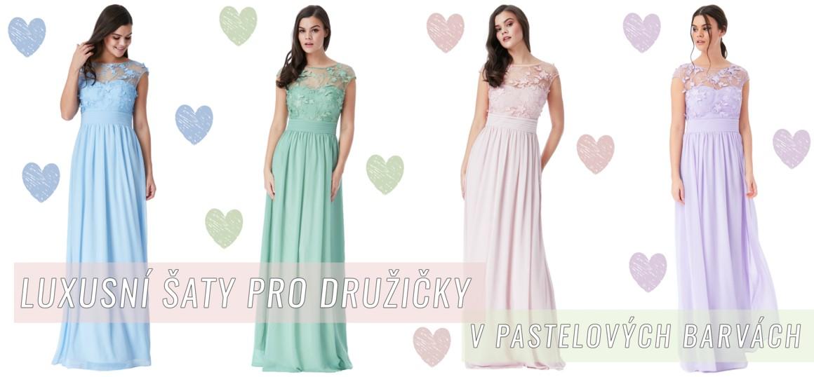 Luxusní dlouhé šaty v pastelových barvách