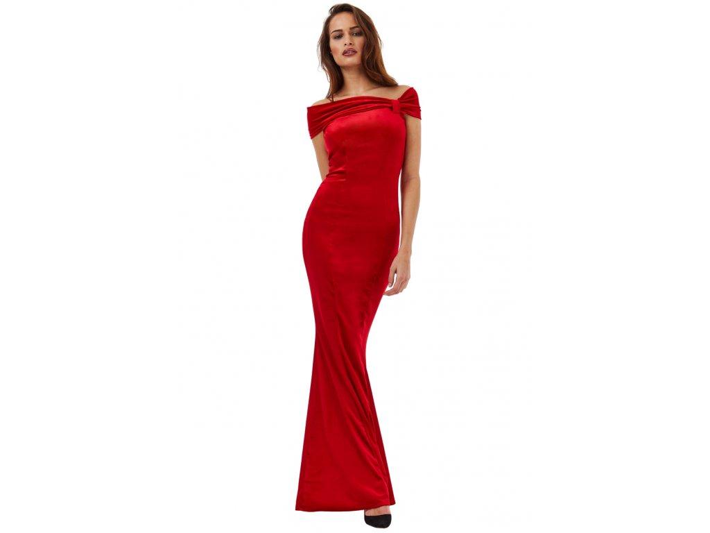 Plesové sametové šaty Doretta červené