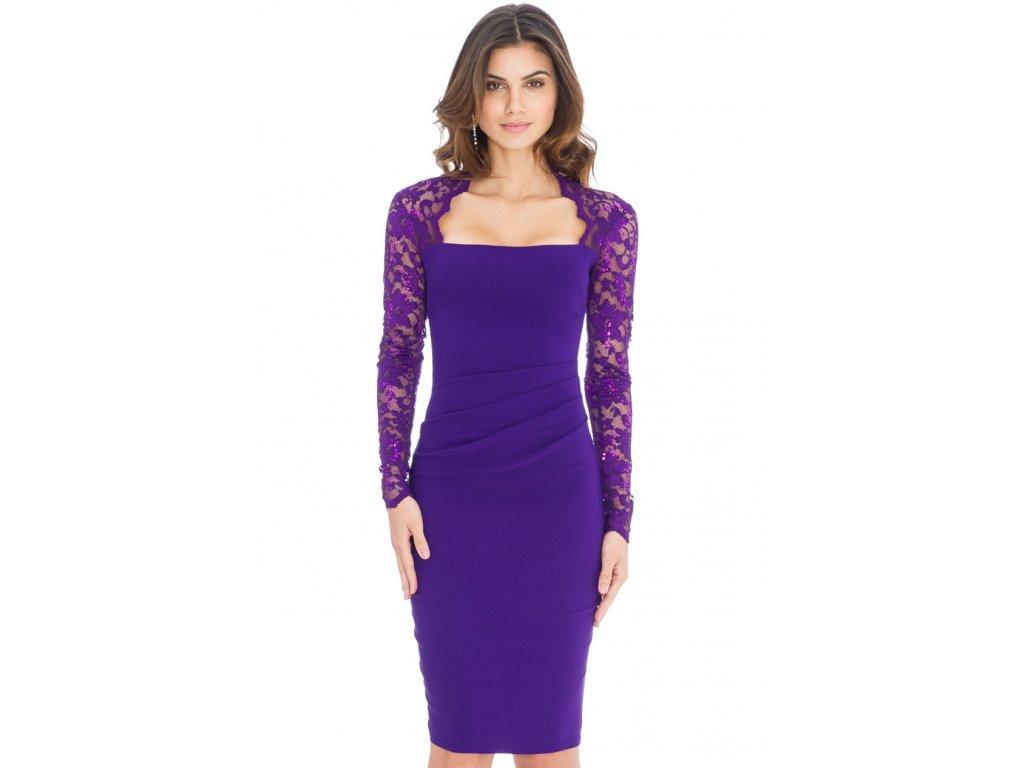 409deaa28 Společenské šaty Avery fialové s krajkou - Levné společenské a ...