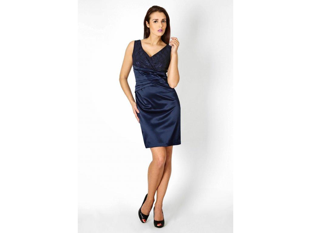 e2ebe486d2a Společenské šaty pro plnoštíhlé Jacklyn s krajkou tmavě modré ...