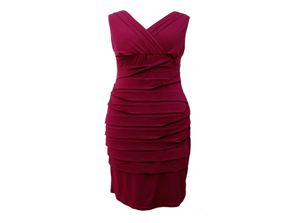 Společenské šaty pro plnoštíhlé Vera vínově červené - Levné ... ac199a2f29