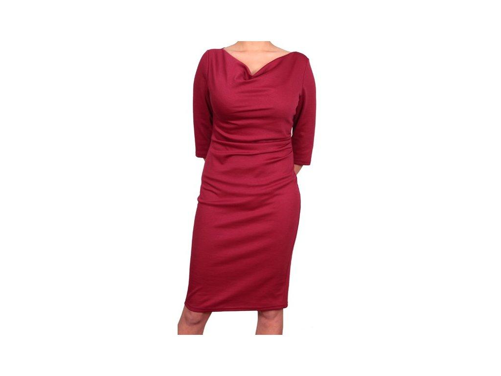 Společenské šaty pro plnoštíhlé Camilla vínově červené - Levné ... 3a97b7fa2e