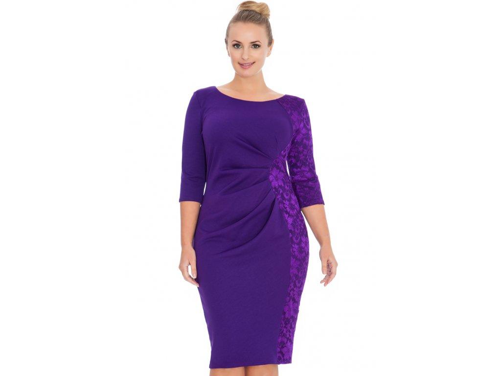 Společenské šaty pro plnoštíhlé Glennis fialové s krajkou 3f464dbf1c