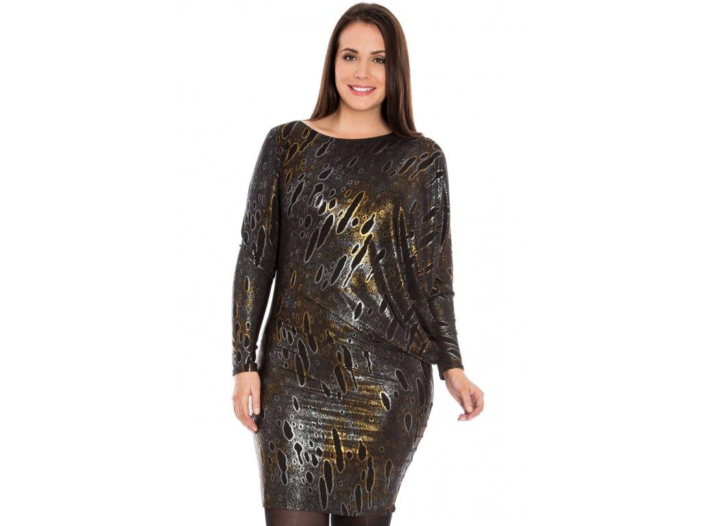 36db33db8b06 Společenské šaty pro plnoštíhlé Mirella II zlato-černo-stříbrné ...