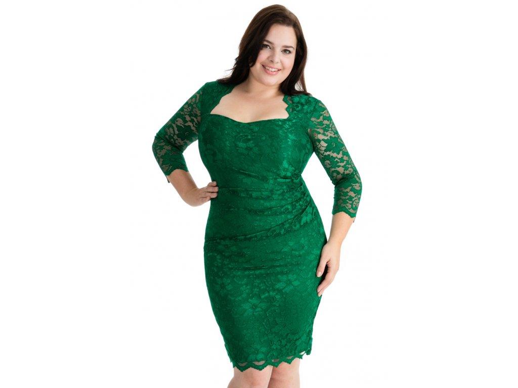2480840989e Společenské krajkové šaty pro plnoštíhlé Priscilla smaragdově zelené ...