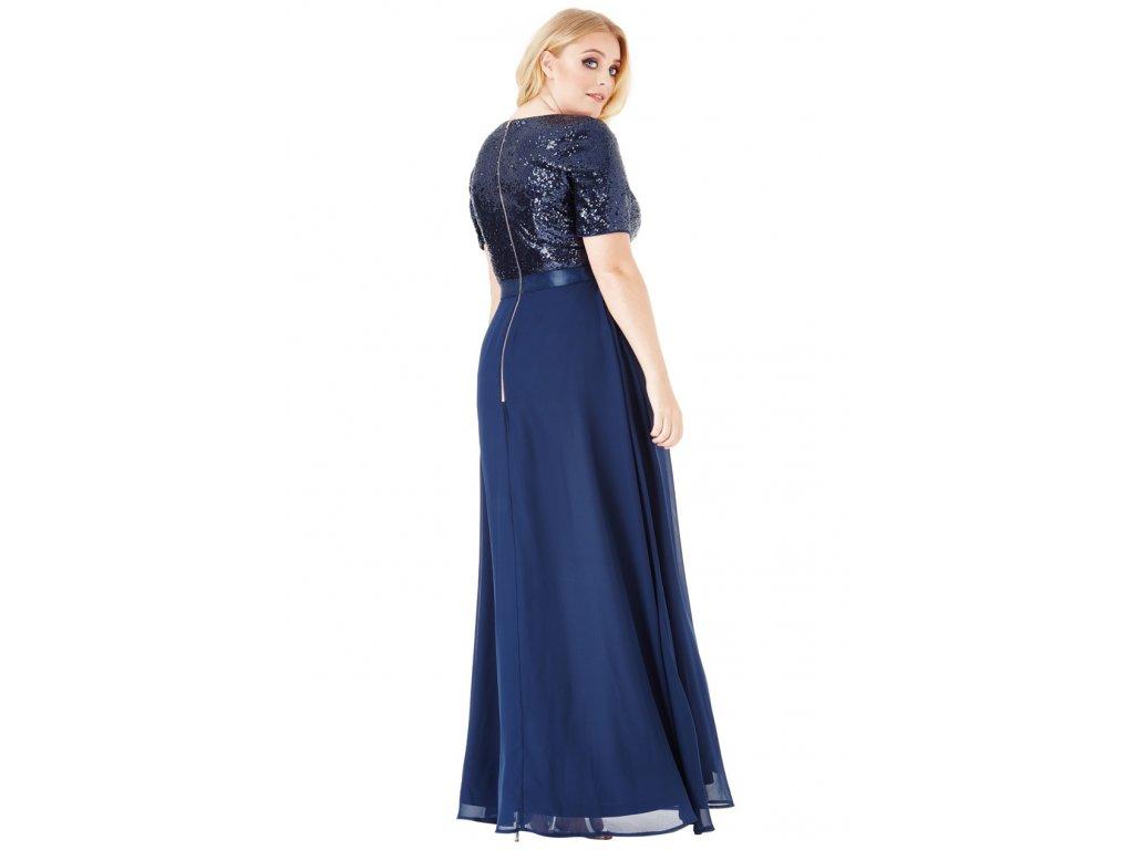 Luxusní plesové šaty pro plnoštíhlé Contessa tmavě modré dlouhé zezadu ... 8278b32e70