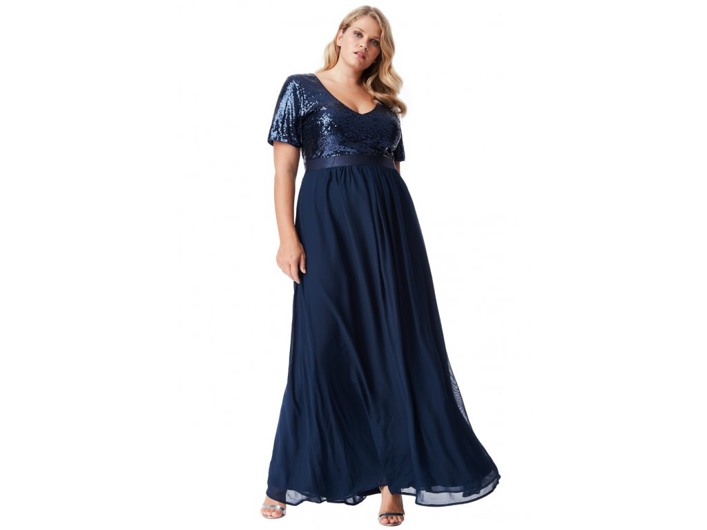 ... Luxusní plesové šaty pro plnoštíhlé Contessa tmavě modré dlouhé 2 ... e280cabe63