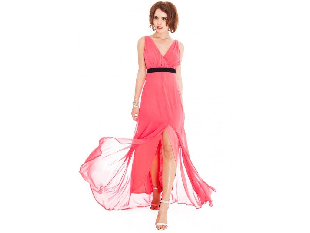 33f7d89c5a7b Plesové šaty Liberty lososové II - Levné společenské a plesové šaty ...