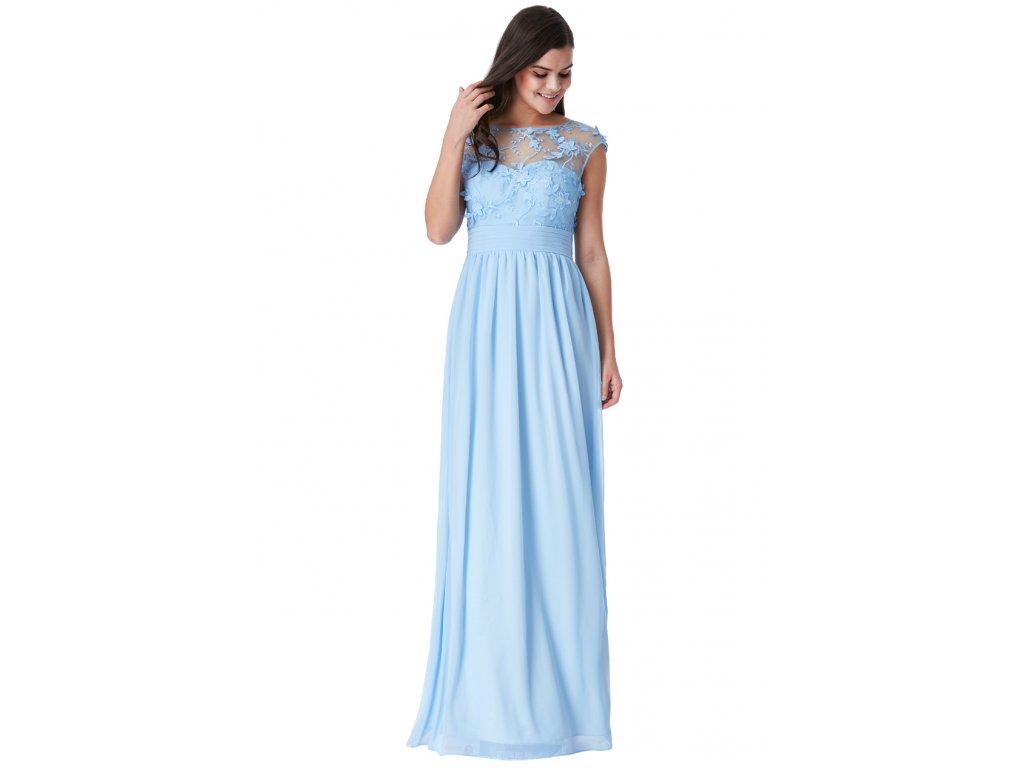 2398303383b2 Luxusní společenské šaty Floretta světle modré - Levné společenské a ...