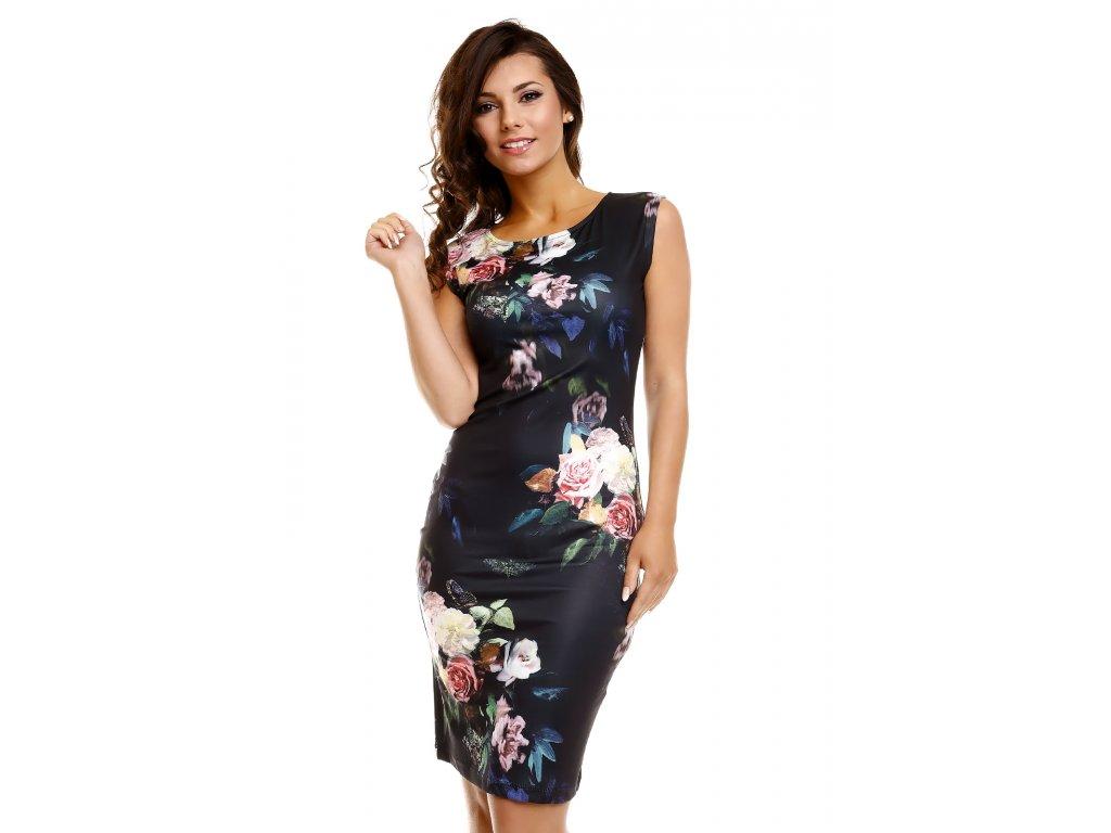 Společenské šaty Paris černé s květy - Levné společenské a plesové ... 5a9b58701e