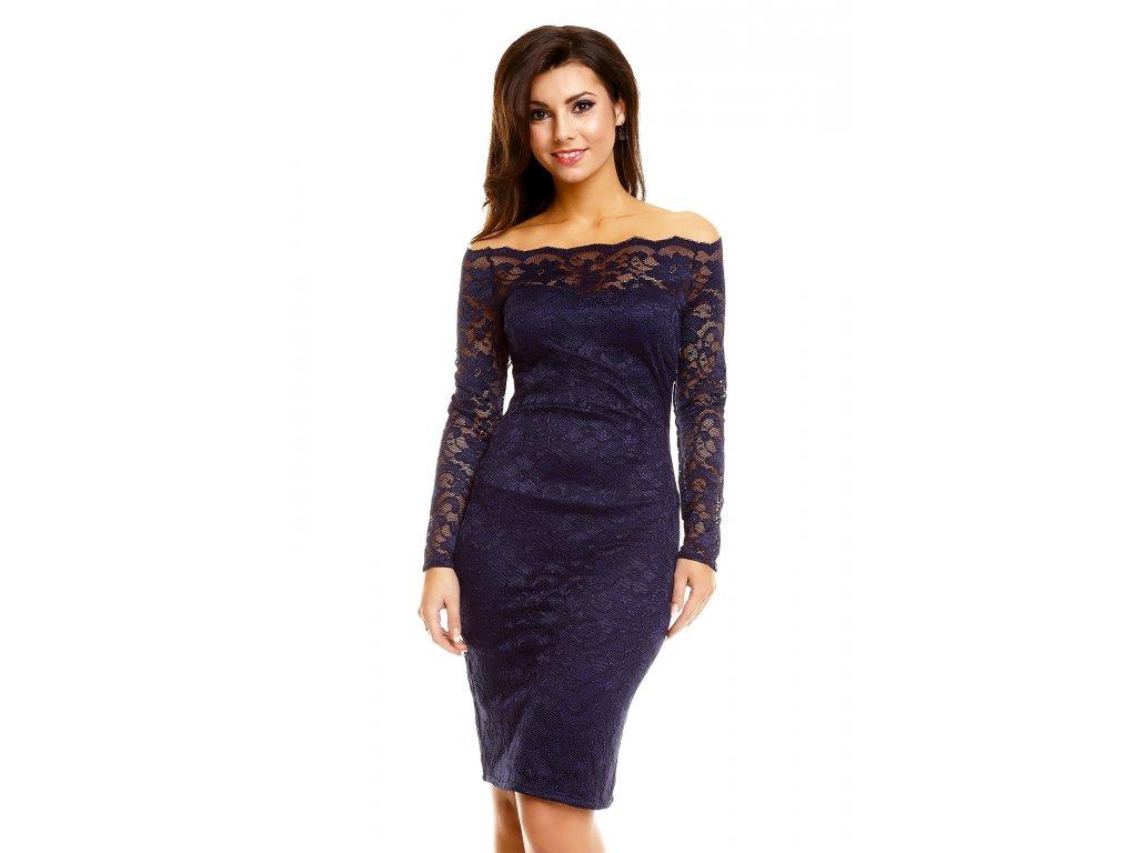af41440ee30 Plesové šaty Evelyn tmavě modré s krajkou - Levné společenské a ...