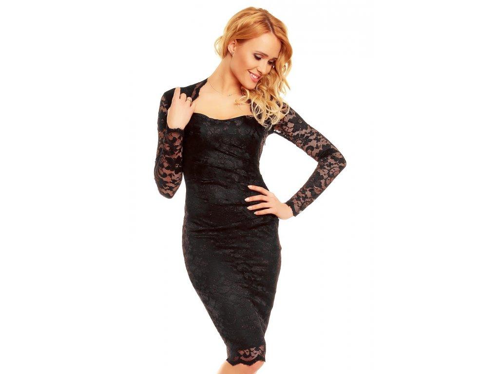 Plesové šaty Lucienne černé s krajkou