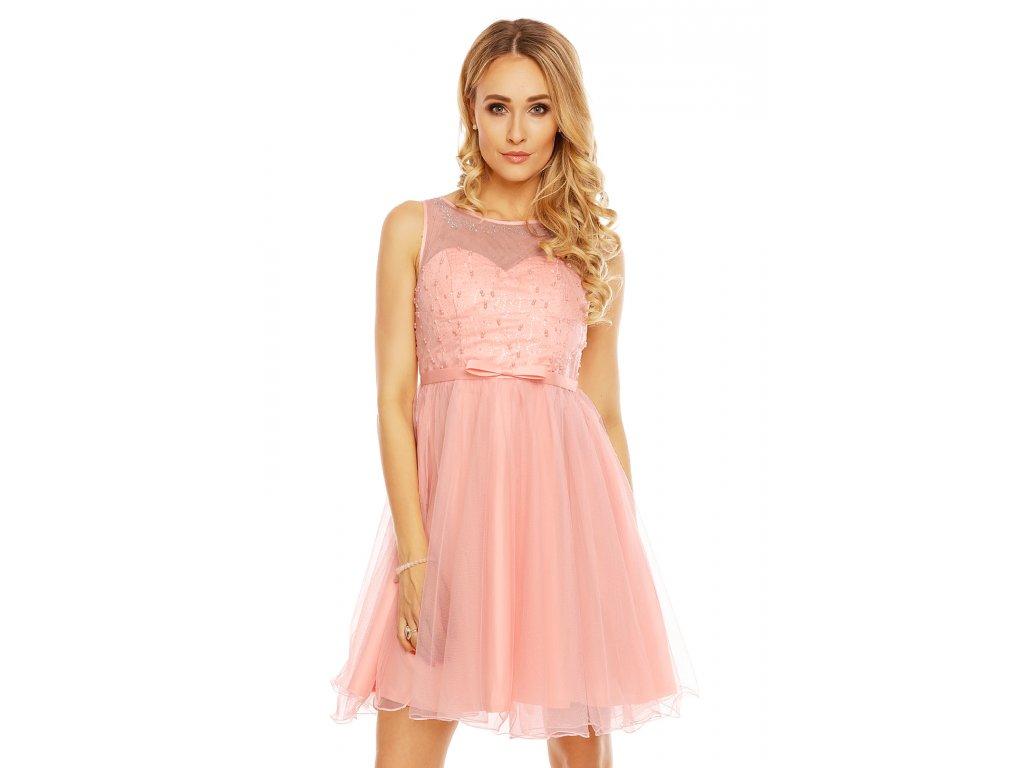 803b806ebbe Společenské šaty Karen světle růžové - Levné společenské a plesové ...