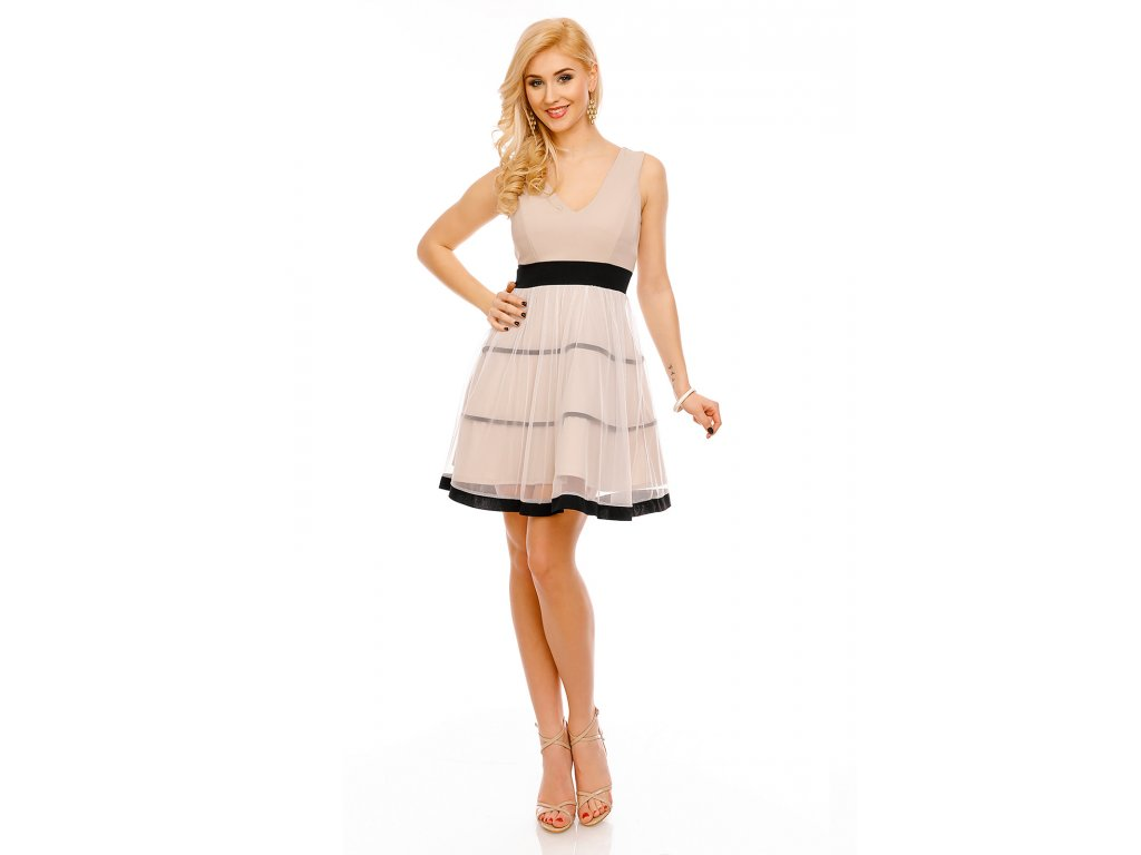 Společenské šaty Demi béžové - Levné společenské a plesové šaty ... 9f62ed8adb
