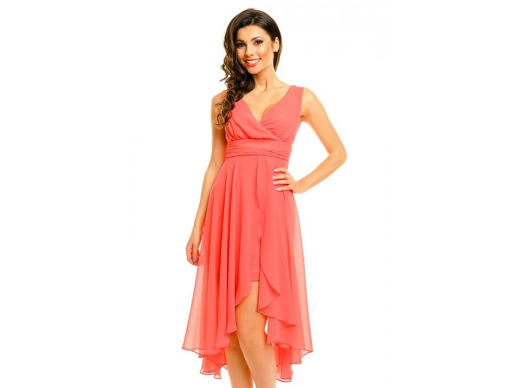 d7f762a4b2f Plesové šaty Rosetta lososové - Levné společenské a plesové šaty ...