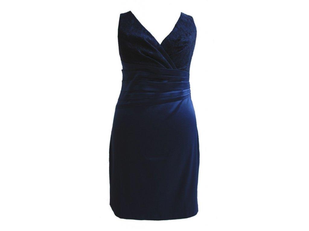 bb5515c4c15 ... Společenské šaty pro plnoštíhlé Jacklyn s krajkou tmavě modré II 2 ...