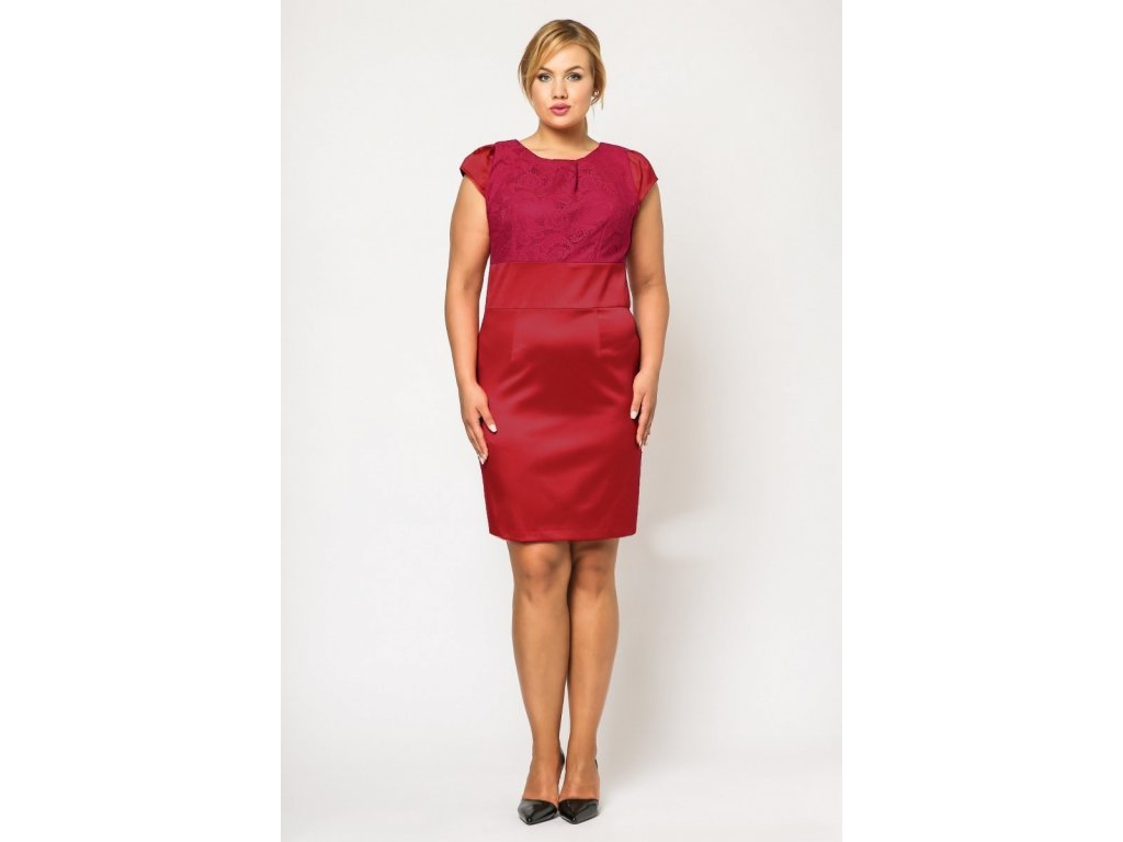 Společenské šaty pro plnoštíhlé Therese červené s fuchsiovou krajkou ... 76a4b96bee