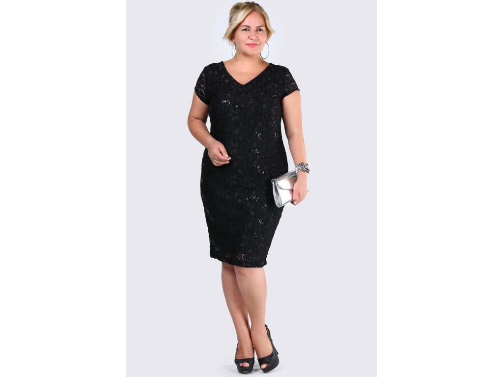 21d5153130e Společenské šaty pro plnoštíhlé Raguel černé - Levné společenské a ...
