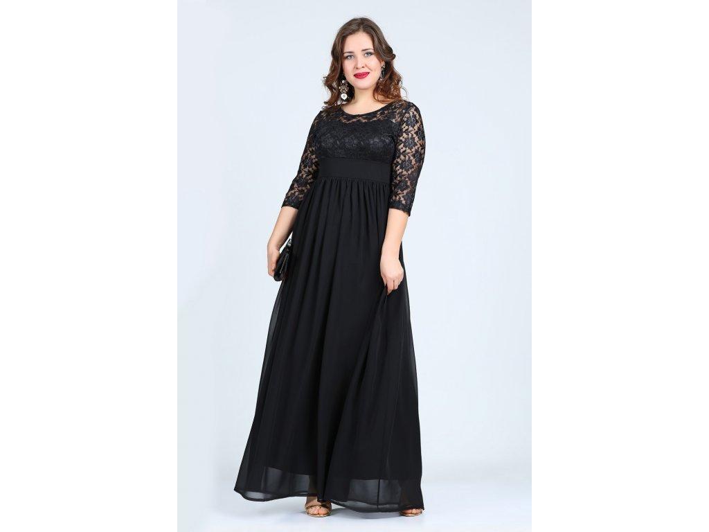 a2e88d61a0e5 Společenské šaty pro plnoštíhlé Isidora II černé dlouhé - Levné ...