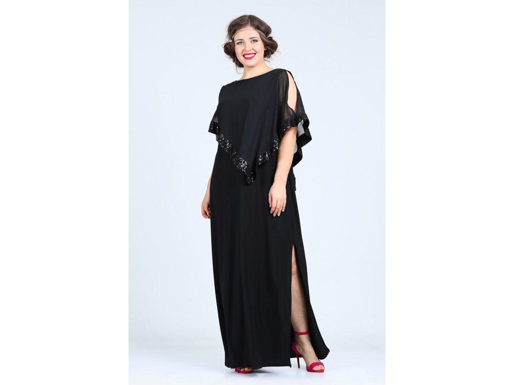 Společenské šaty pro plnoštíhlé Cassandra černé dlouhé - Levné ... deb285888b