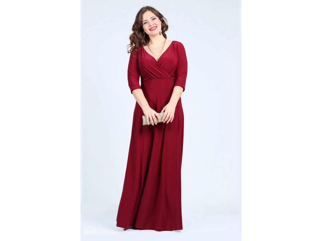 Společenské šaty pro plnoštíhlé Feliciana vínově červené dlouhé ... bfd4ff14be