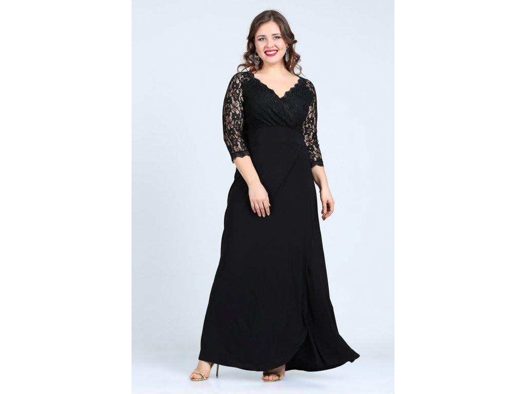 9726bd030173 Společenské šaty pro plnoštíhlé Rafaella černé dlouhé - Levné ...