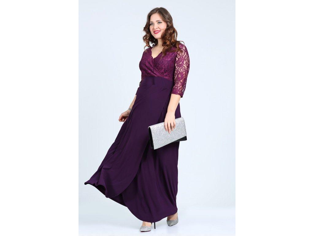 f5b82fba4fc Společenské šaty pro plnoštíhlé Rafaella fialové dlouhé - Levné ...