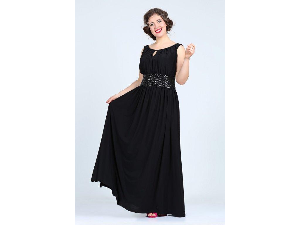1e4fa60ed40b ... Společenské šaty pro plnoštíhlé Olympia černé dlouhé zboku ...