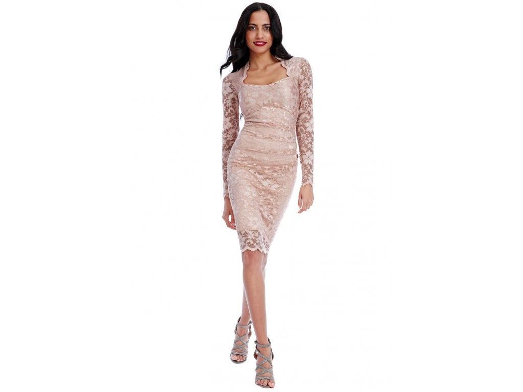 1a81abba8dc4 Společenské krajkové šaty Priscilla pudrové - Levné společenské a ...