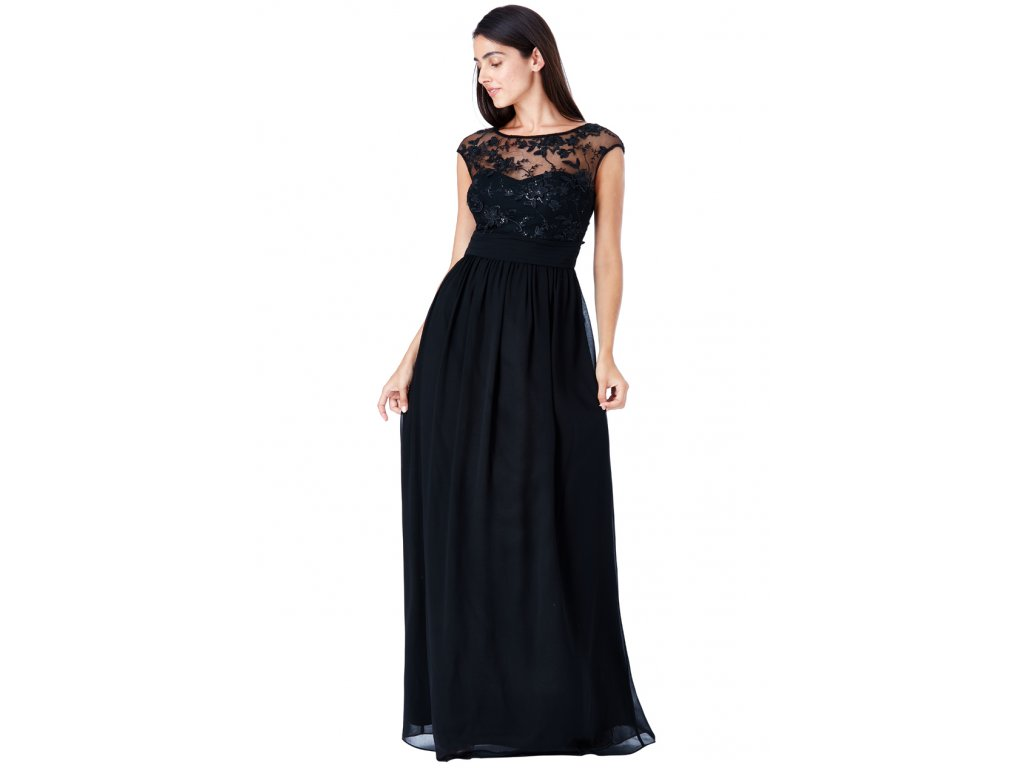 09a7f8207248 Luxusní společenské šaty pro plnoštíhlé Floretta černé - Levné ...