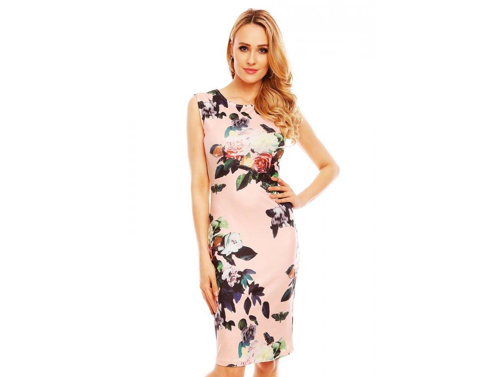 Společenské šaty Paris světle růžové s květy - Levné společenské a ... 5bc37b7184