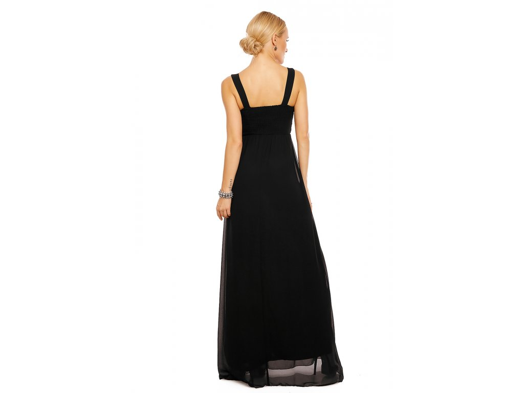 1ff412b5e0d Dlouhé plesové šaty Simonette černé - Levné společenské a plesové ...