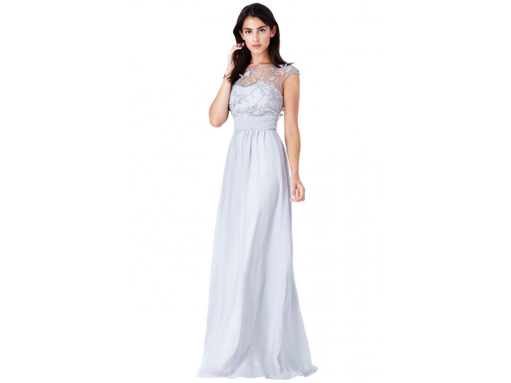 Luxusní společenské šaty Floretta světle šedé - Levné společenské a ... 547134f3cc