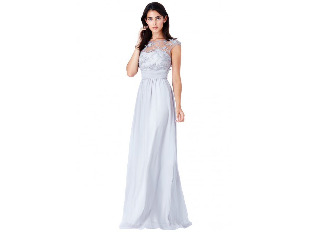 fb1a1f538fc8 Luxusní společenské šaty pro plnoštíhlé Floretta světle šedé - Levné ...