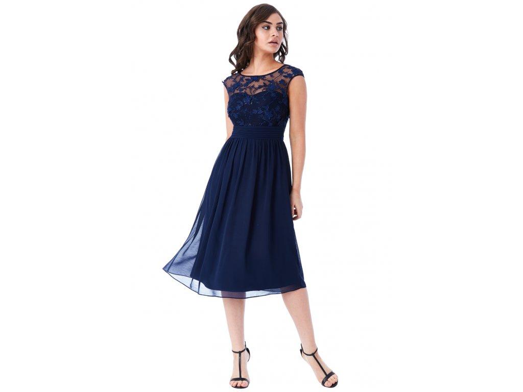 Luxusní společenské šaty Floretta II tmavě modré - Levné společenské ... cd6bc21550