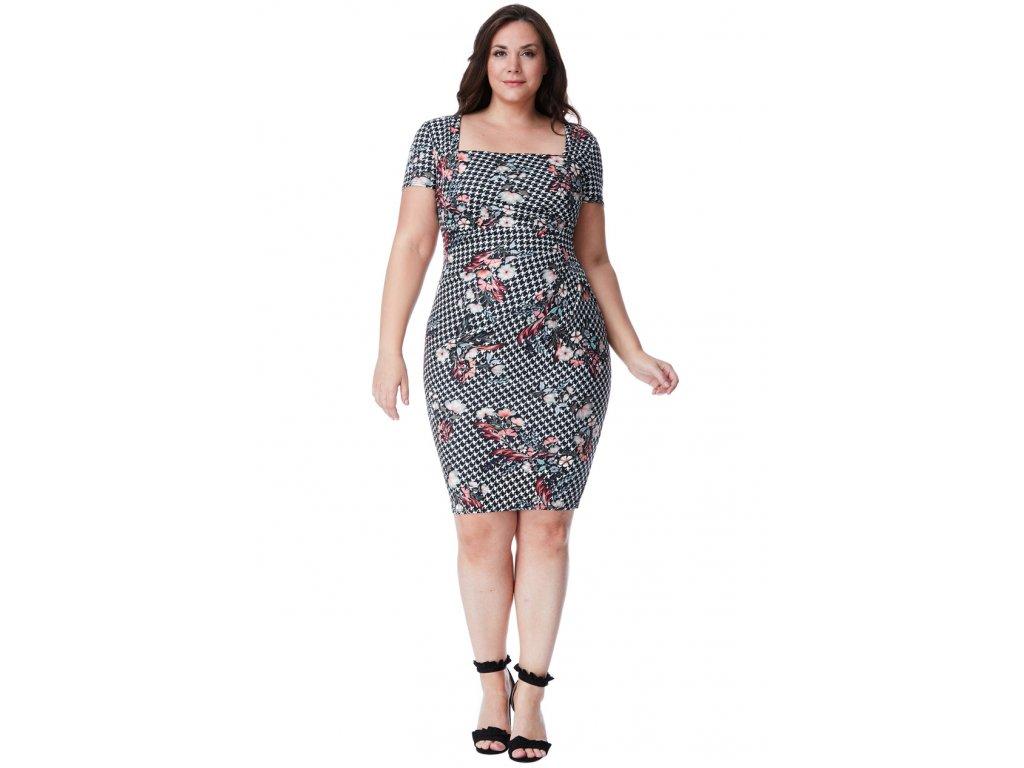 ... Společenské šaty pro plnoštíhlé Gwen bílo-černé s květy náhled ... ca1d2f9248