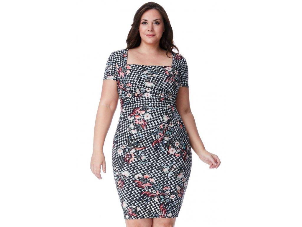 Společenské šaty pro plnoštíhlé Gwen bílo-černé s květy - Levné ... 17a9cba5c9