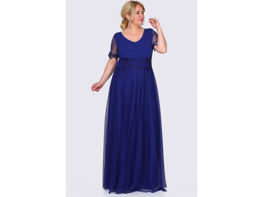 Společenské šaty pro plnoštíhlé Estrella modré dlouhé
